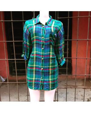 Blue Plaid Pattern Long Sleeve Shirt LAGOS